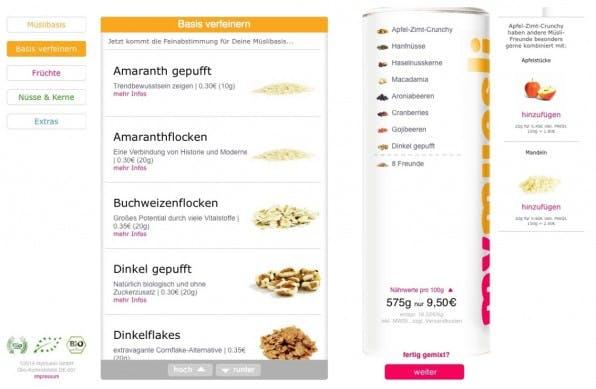 Ein guter Produktkonfigurator wie bei mymuesli.de kann ein USP sein, den es bereits bei der Konzeption des Online-Shops zu bedenken gilt.