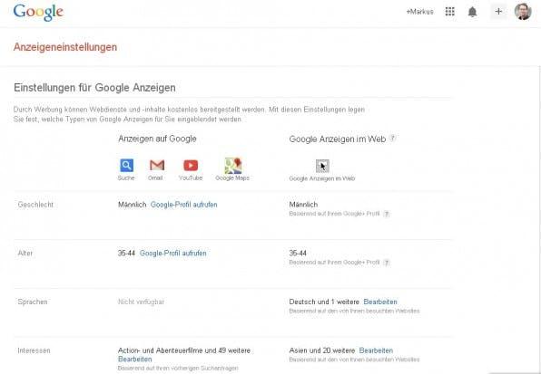 In den Anzeigeneinstellungen von Google kann man sehen, welche Daten Google zieht. Hier ist zum Beispiel das Google+-Profil des Autors die Informationsquelle.