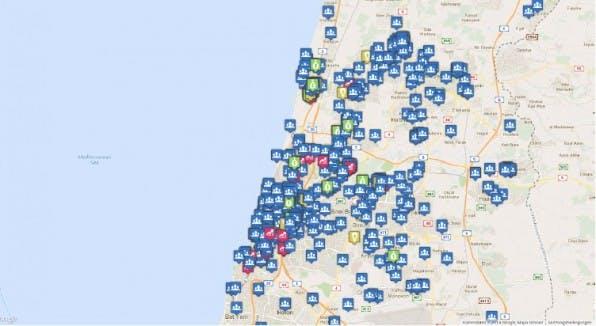 mappedinisrael.com: Die Karte zeigt Startups (blau), Accelerators, Communities, Investoren und vieles mehr. (Screenshot: mappedinisrael.com)