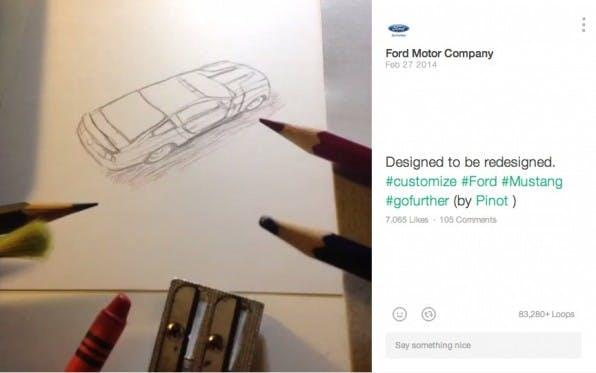 Trotz der Kürze müssen Unternehmen bei Kurzvideos auf eine professionelle Gestaltung und gutes Storytelling achten – so wie das Ford bei diesem Vine-Video macht.