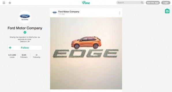 Die Profilseiten, hier die von Ford, sind bei Vine radikal entschlackt und lenken die volle Aufmerksamkeit auf das Video.