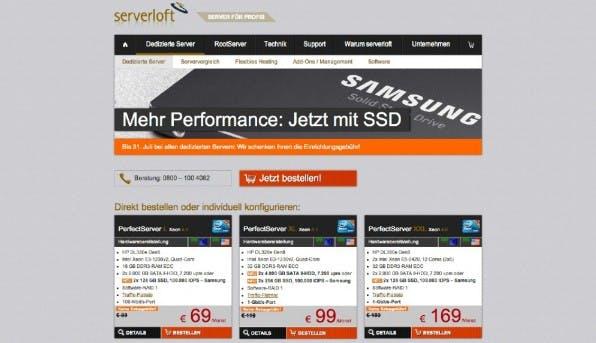 """Namensverwirrungen: Bei Serverloft sind """"RootServer"""" ein virtuelles Produkt, eigene Hardware gibt es als """"Dedizierten Server"""". (Screenshot: serverloft.de)"""