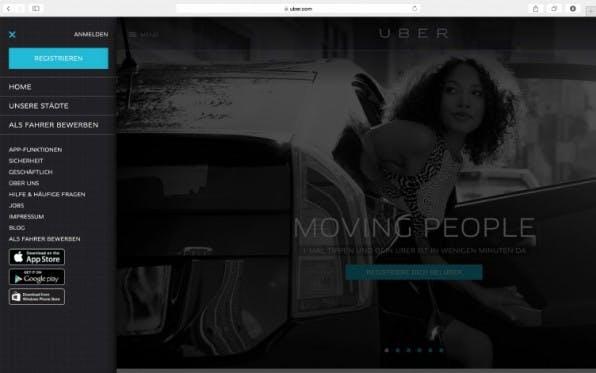 Menüs, die den ganzen Bildschirm einnehmen, haben auch auf dem Desktop ihre Vorteile - bei Uber wird beim Herausfahren des Off-Canvas-Flyouts der Seitenhinhalt abgeblendet, so dass Nutzer sich voll auf die Navigation konzentrieren können. (Screenshot: uber.com)