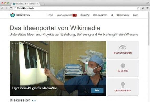 Das Ideenportal von Wikimedia Deutschland zeigt sehr gut, wie eine Crowdsourcing-Plattform funktionieren kann. Die Website ist frei zugänglich und kann durchaus als Showcase für internes Crowdfunding fungieren. (Screenshot: wikimedia.de)