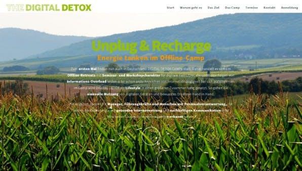 """In Deutschlands erstem """"Digital-Detox-Camp"""" geht es um das bewusste Abschalten- die Location in ländlicher Umgebung mit schlechtem Mobilfunknetz erleichtert den Ausstieg. (Screenshot: thedigitaldetox.de)"""