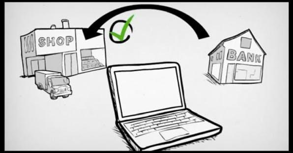 Schematische Darstellung einer Direktüberweisung von giropay: Die Bank bestätigt die Ausführung der Überweisung, der Händler kann jetzt liefern. (Grafik: giropay)
