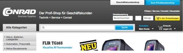 Die Schnellbestell-Funktion im Conrad-B2B-Shop ermöglicht schnelle Bestellungen für Kunden, die genau wissen, was sie wollen. (Screenshot: conrad.de)