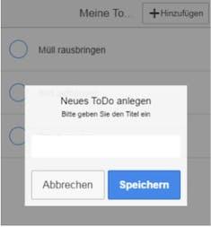 Im Popup-Dialog kann der Nutzer neue Aufgaben anlegen, die AngularJS anschließend automatisch der HTML-Liste hinzufügt.(Screenshot: ngCordova)