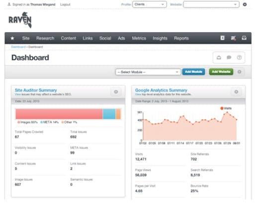 Der Anbieter Raven-Tools stellt über 30 Marketing-Automation-Tools für Startups und Kleinunternehmen in der Cloud zur Verfügung. (Screenshot: raven-tools Site Auditor)