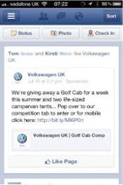 Volkswagen mit einem Sponsored Post bei Facebook: Im Idealfall sind solche Posts kontext-sensitiv und reagieren auf die Nutzungssituation des Users. (Screenshot: facebook.com)