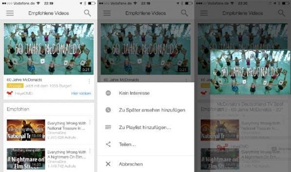 YouTube besticht bei seiner mobilen App mit durchdachter Navigation: Per Swipe kann der Nutzer hier beispielsweise Videos minimieren, um nach weiteren Inhalten zu suchen. (Screenshot: Youtube-App)
