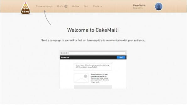 Das Newsletter-Tool CakeMail präsentiert sich als eine minimalistische Alternative für den Otto-Normal-Anwender. (Screenshot: CakeMail)