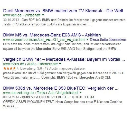Markennamen sollten möglichst im Title auftauchen. Erkennen Suchende innerhalb der Suchergebnisse bekannte Markennamen, erhöht sich die Klickwahrscheinlichkeit. (Screenshot: google.de)