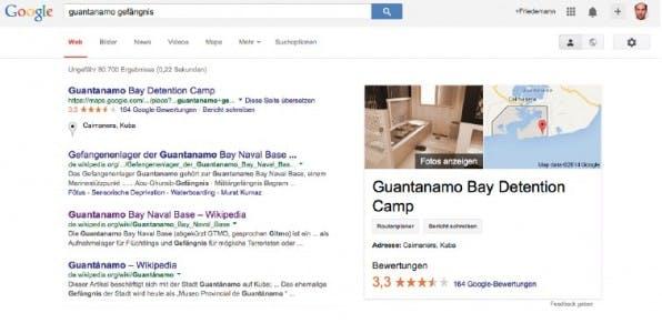 """Die Location """"Guantanamo"""" bekommt bei Google Maps in 135 Erfahrungsberichten durchschnittlich nur 3,3 von 5 Sternen – eine Fünf-Sterne-Residenz sieht anders aus. (Screenshot: google.de)"""
