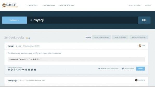 """Im """"Chef Supermarket"""" finden Chef-User unzählige Konfigurationsdateien, """"Cookbooks"""" genannt, mit denen sie zum Beispiel einen MySQL-Server automatisch installieren und konfigurieren können."""