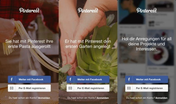 Das Onboarding von Pinterest ist dezent: Im Hintergrund des Anmeldebildschirms sind unaufdringlich Anregungen zu sehen, die neuen Kunden Ideen liefern.