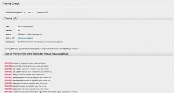 """Die Erweiterung """"Theme Check"""" überprüft, ob WordPress-Themes konform mit den WordPress-Review-Guidelines sind."""