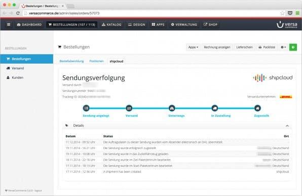 Die shipcloud-Einbindung in VersaCommerce ermöglicht nicht nur die Wahl des günstigsten Logistikers, sondern auch die Sendungsverfolgung durch den Händler. (Screenshot: Versacommerce)