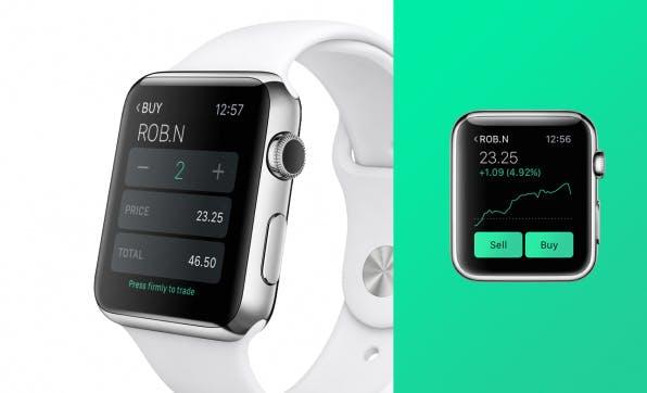 Immer mehr Trading-Apps sind für einen noch schnelleren Informationsfluss auch für Smartwatches erhältlich – hier zu sehen die Apple-Watch-Version der Trading-App Robinhood.