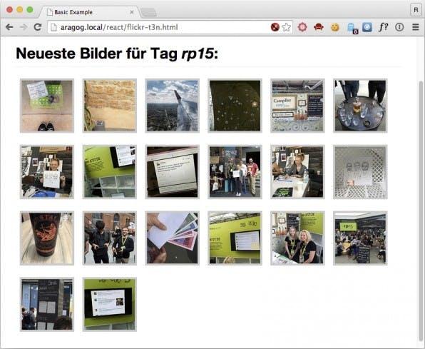 Die kleine Beispiel-Anwendung von React zieht Bilder von flickr und zeigt sie in einer Art Lightbox. Anhand dieses Beispiels lässt sich die Funktionsweise von React gut erklären.