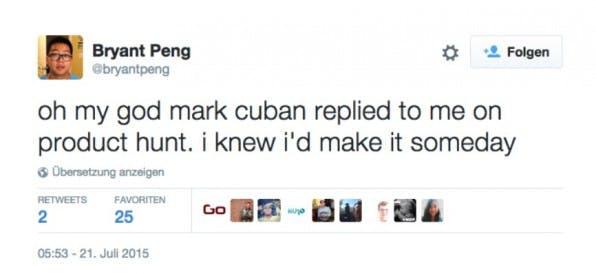 Wer bei Product Hunt mitwirkt, könnte unverhoffterweise auf echte Stars der Startup-Szene treffen – etwa auf den Milliardär und Shark-Tank-Juror Mark Cuban.