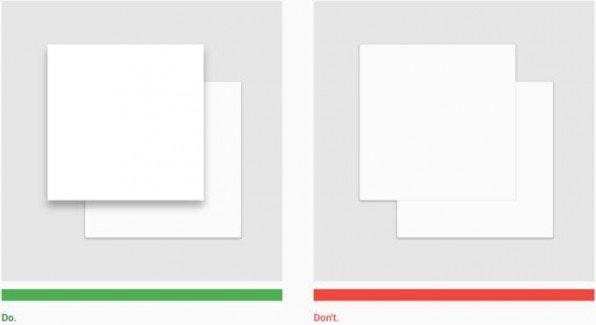 Material Objekte dürfen nicht denselben Raum auf der Z-Achse einnehmen. So muss beispielsweise der globale Schatten der Objekte immer deutlich machen, welches Objekt auf einer übergenordneten Ebene liegt.