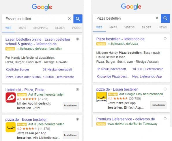 Google bietet seit 2014 die Möglichkeit an, über AdWords Anzeigen zu schalten, in denen Apps direkt beworben werden – inklusive Installations-Button (links: iOS, rechts: Android).
