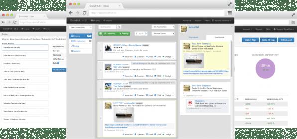 Mit dem Tool Social Hub können Social-Media Strategen gleich mehrere Plattformen gleichzeitig monitoren. Die Beantwortung von Kommentaren und Nachrichten lassen sich dabei auch leicht auf unterschiedliche Team-Mitglieder verteilen.