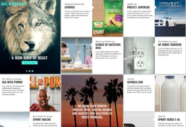 Die Agentur Silktricky setzt neben Bildern und Texten auch Animationen und Videos in dem Masonry-Layout auf ihrer Website ein. (Screenshot: t3n)