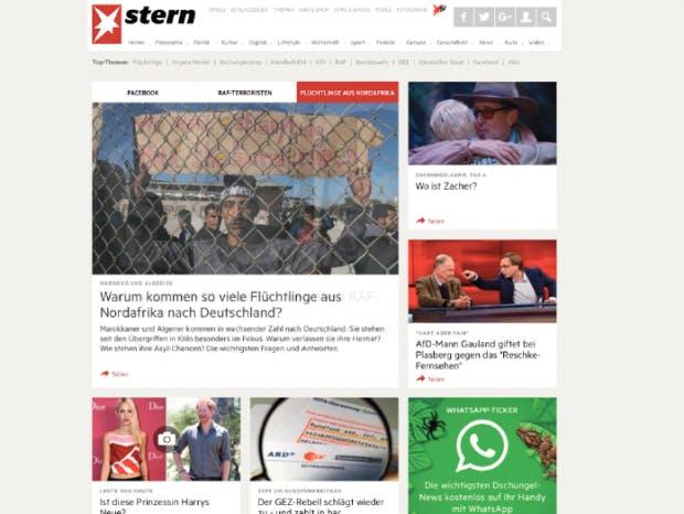 stern.de hat vor Kurzem auf Card Design umgestellt und zeigt, dass sich auch Magazine mit Einschränkungen im Card Design gestalten lassen. (Screenshot: t3n)