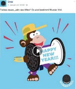 Zu Neujahr 2016 (dem Jahr des Affen) gratulierte Oreo den Fans mit einem Animated GIF. Ergebnis: 40.000 Views, 300 Likes, 24 Shares