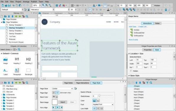 Notizfelder, Spezifikationsdokumente und Daten in Variablen: Die Benutzeroberfläche von Axure ist recht komplex.