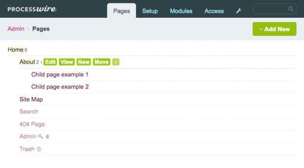 Der hierarchische Seitenbaum von Processwire zeigt alle Seiten-Elemente und ist die Zentrale, über die sich alle Inhalte einer Seite pflegen lassen.