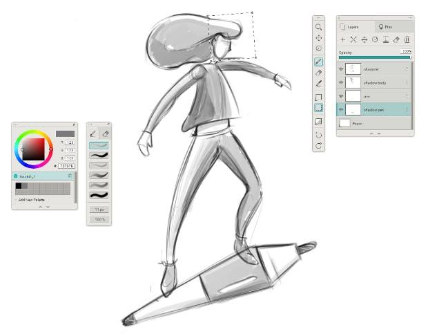 Skizze 1: Beim ersten Scribbeln geht es nicht um Schönheit, sondern darum, eine Idee verständlich darzustellen. In diesem Beispiel soll die Freude und Leichtigkeit am digitalen Illustrieren zum Ausdruck kommen. (Illustration: Livie Leontidis)