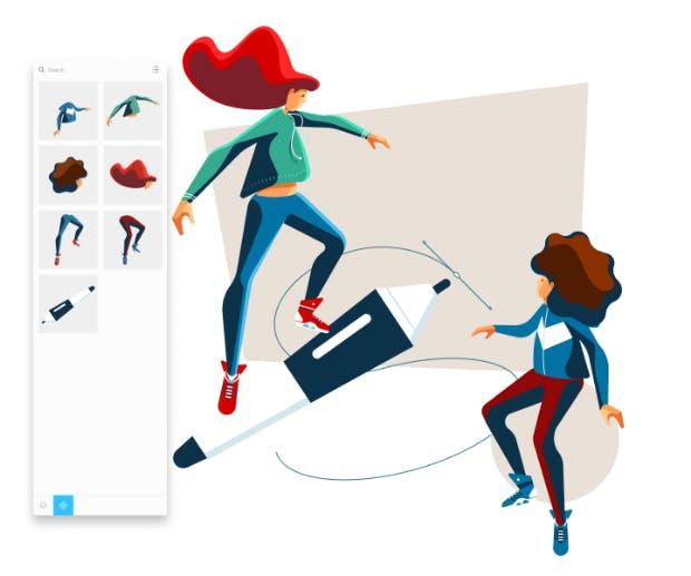 Skizze 4: Um möglichst flexibel und effizient zu arbeiten, sollten sich Designer eine Bibliothek mit Elementen ihrer Illustrationen anlegen: zum Beispiel Arme, Beine, Köpfe oder auch Ausstattungsgegenstände für eine Szene. (Illustration: Livie Leontidis)