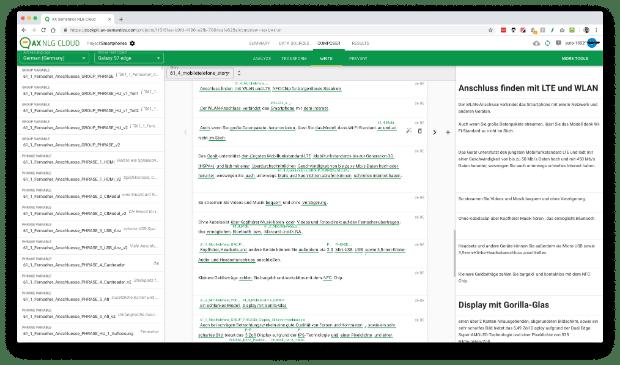 Ein Textgenerator wie AX Semantics erstellt variierende Texte in beliebiger Anordnung mit Informationen aus Datenbanken. Das Tool beherrscht die Grammatik von über hundert Sprachen. (Screenshot: AX Semantics)