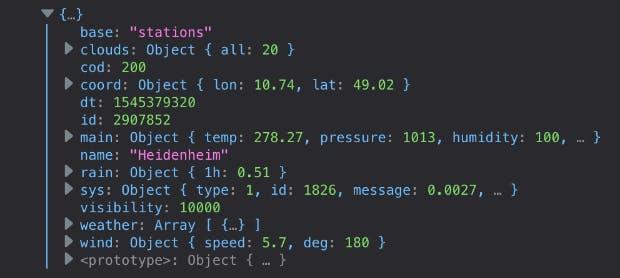 Über die API landen die Wetterdaten in der Browser-Konsole und können dann im Frontend dargestellt werden. (Screenshot: Aaron Czichon)