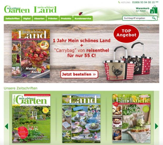 """A: Mit einem A/B-Test wollte das Gartenmagazin """"Mein schöner Garten"""" die Zahl der Abonnement-Bestellungen und damit seinen Umsatz steigern. Die Hypothese: Die Anzahl der Warenkörbe lässt sich steigern, wenn das Gesamtsortiment präsentiert wird, anstatt wie bisher nur ein Top-Angebot. (Screenshot: Mein schöner Garten)"""