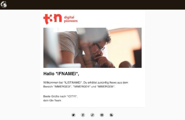 Welches Newsletter-Tool sich lohnt, hängt nicht zuletzt von strategischen Entscheidungen ab – wie viel Kundendaten können im Unternehmen zusammengeführt werden? Bei t3n ist unter anderem Mailchimp im Einsatz. (Screenshot: Mailchimp)