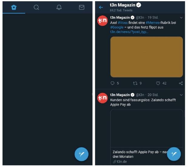 Links: Die Ladezeit der Progressive-Web-App von Twitter ist häufig länger als die der nativen App (rechts). Überhaupt lohnt es sich kaum, viel genutzte Dienste als PWA aufzurufen. (Screenshot: Twitter)