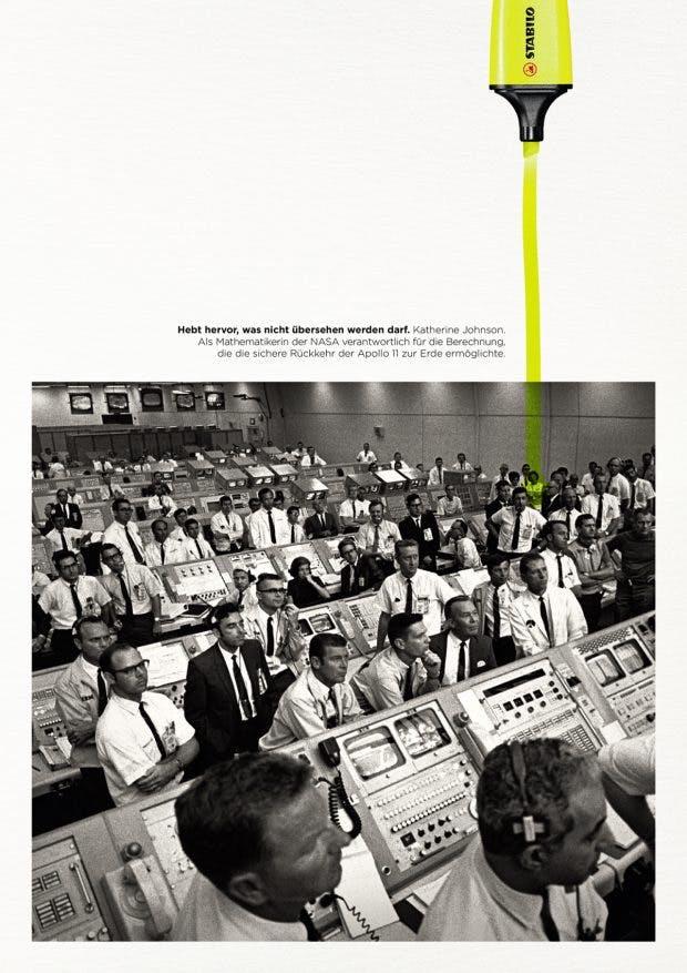 """Stabilo stellt mit der Kampagne """"Highlight the Remarkable"""" historisch bisher wenig beachtete erfolgreiche Frauen in den Mittelpunkt. (Abbildung: Stabilo / DDB)"""