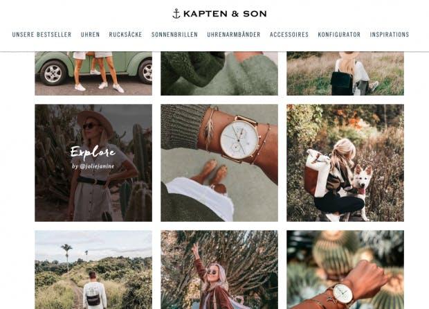 Uhrenhersteller Kapten & Son setzt stark auf die Kooperation mit Influencern. Brand Ambassadors sind unter anderem Lena Gercke und Farina Opoku (@novalanalove auf Instagram). (Screenshot: Kapten & Son)