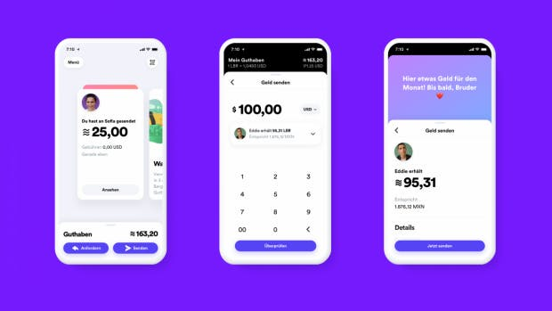 """""""Hier etwas Geld für den Monat!"""": So könnte die App für die Libra-Wallet Calibra ausehen. (Abbildung: Facebook)"""