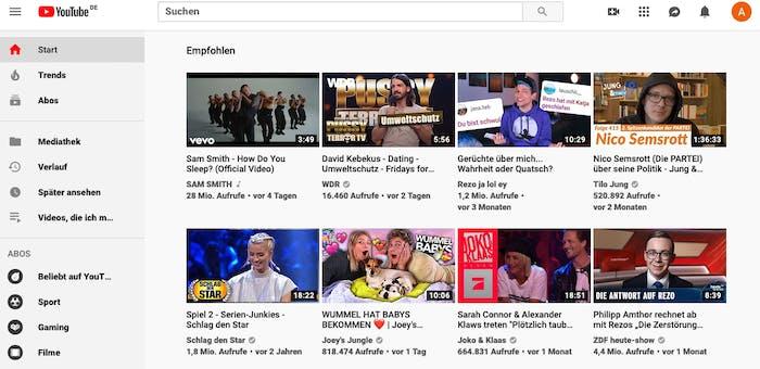 Die Youtube-Startseite, bestehend aus Vorschaubildern, Werbeanzeigen, Popups, großem Headerbild und vielem mehr verbraucht hingegen deutlich mehr CO2 pro Aufruf. (Screenshot: Youtube)