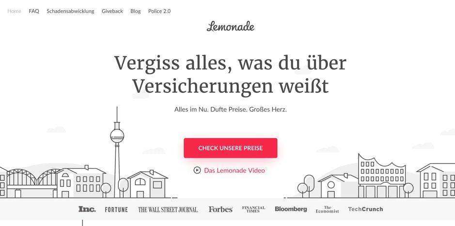 Eine klare Botschaft und ein ansprechendes Erklärvideo mit individuellen Grafiken auf der Startseite: Die Website des Versicherungsanbieters Lemonade regt die Nutzer an, den Besuch der Website als Reise zu erleben. (Screenshot: Lemonade)