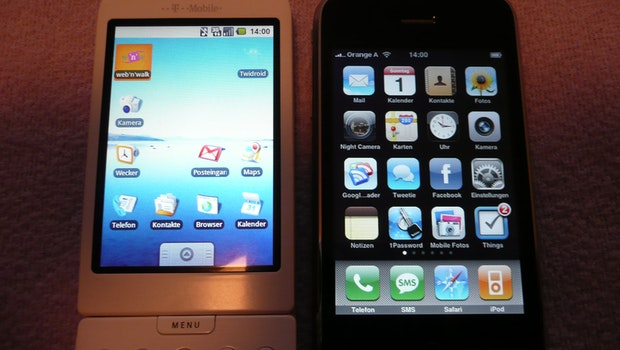 T-Mobile G1 neben dem iPhone 3G. (Foto: t3n.de)