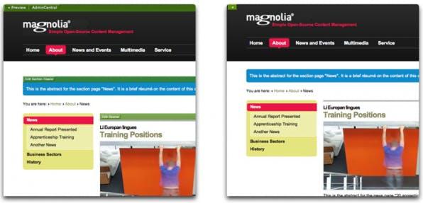 Der WYSIWYG-Editor in Aktion: links die Edit-Ansicht, rechts die Vorschau