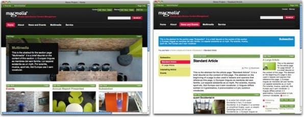 Beispiele aus den Vorlagen: Links eine Startseite und rechts eine Artikelseite