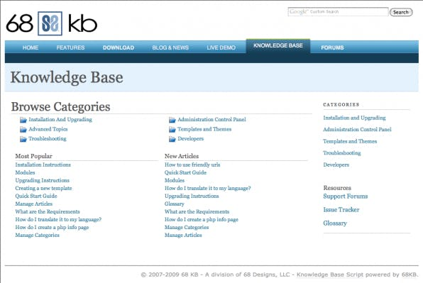 Die Knowledge Base von 68KB