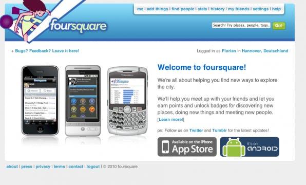 Homepage von Foursquare